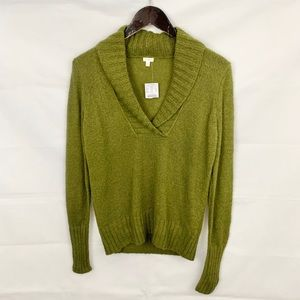 NWT J. Crew Mohair Shawl Green Popover Sweater